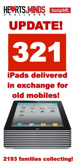 321 iPads have now been delivered to families from Hearts and Minds