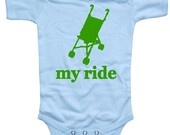 My Ride Stroller Short Sleeve funny onsie -Baby Boy One Piece (Size 0 to 6  or 6 to 12 M). $16.00, via Etsy.