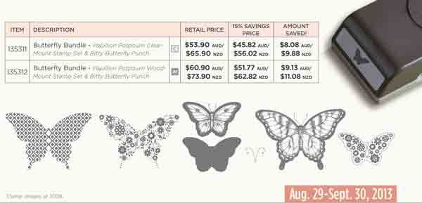 Butterfly bundle, save 15% when you purchase Papillion Potpourri stamp set and bitty butterfly punch. To buy now; http://www3.stampinup.com/ECWeb/ProductDetails.aspx?productID=135311&dbwsdemoid=4000941 (clear mount) or http://www3.stampinup.com/ECWeb/ProductDetails.aspx?productID=135312&dbwsdemoid=4000941 (wood mount) #stampinup #bittybutterfly #papillonpotpourri