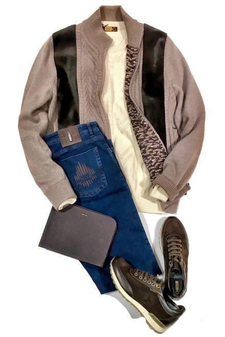 2017-18 秋冬最新 アズーロ エ マローネ コーディネート /Cordinate #mensfashion #fashion #zilli #cashmere #cashmerejacket #jeans #shoes #sweater #bag #luxry #france #hikoginza #ginza #メンズファッション #コーディネート #最高級セレクトショップ #銀座 #HIKO銀座 #カシミヤ #ニットブルゾン #セーター #スエードスニーカー #ジーンズ