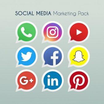 9 iconos redondos de redes sociales