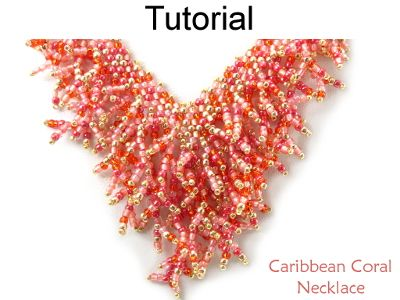 Caribbean Coral Necklace Diagonal Peyote Fringe Stitch Downloadable Beading Pattern Tutorial | Simple Bead Patterns