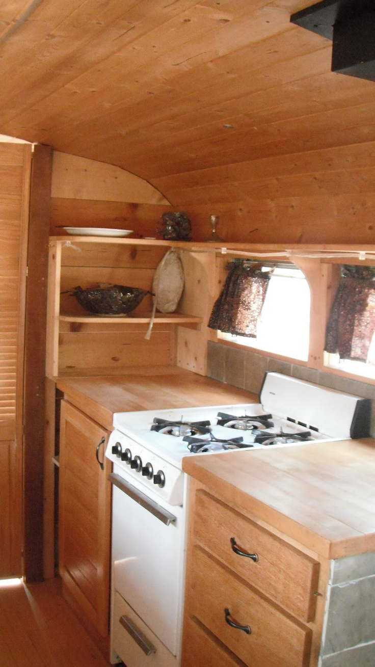Kitchen View 2 Of Converted School Bus