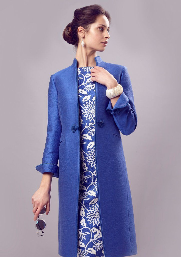 Blue/Ivory Printed Silk/Wool Dress with Sleeves in Matelassé - Angie