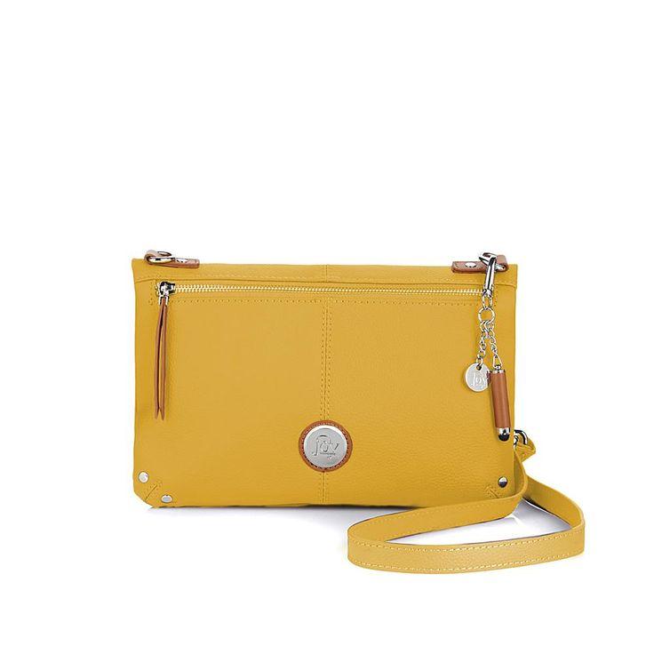 Joy Mangano JOY Genuine Leather Foldover Crossbody Bag with RFID Protection - Sunflower Yellow