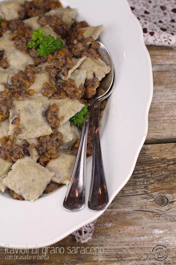Ravioli di grano saraceno con brasato e bieta