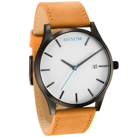 Men's Black cased Tan leather watch from MVMT Watches. This Tan leather version is a versatile watch, fitting in casual, formal and professional setting
