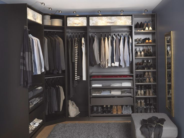 furniture lovely big u shape dark grey walk in closet ikea closet systems with full of clothes shoes mirror and small chair - Ikea Closet Design Ideas