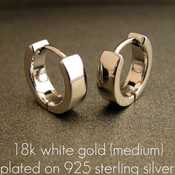 White Gold Rhodium Earrings Hoop Huggie Over 925 Sterling Silver Mens Womens Medium Size E150sw