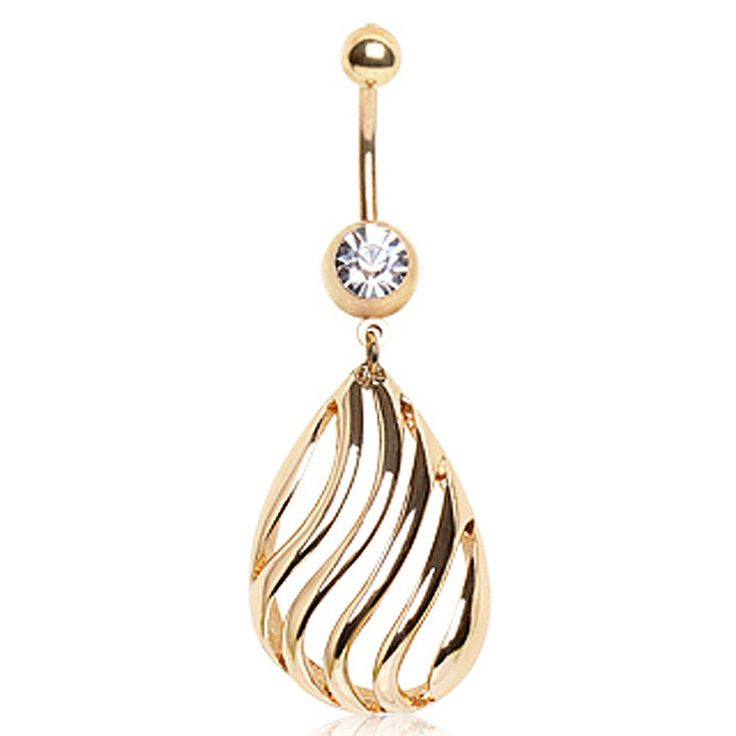 Gold Plated Navel Ring with Kisses Shpaed Dangle #BellyRing #BodyMod #BodyModification #Piercings