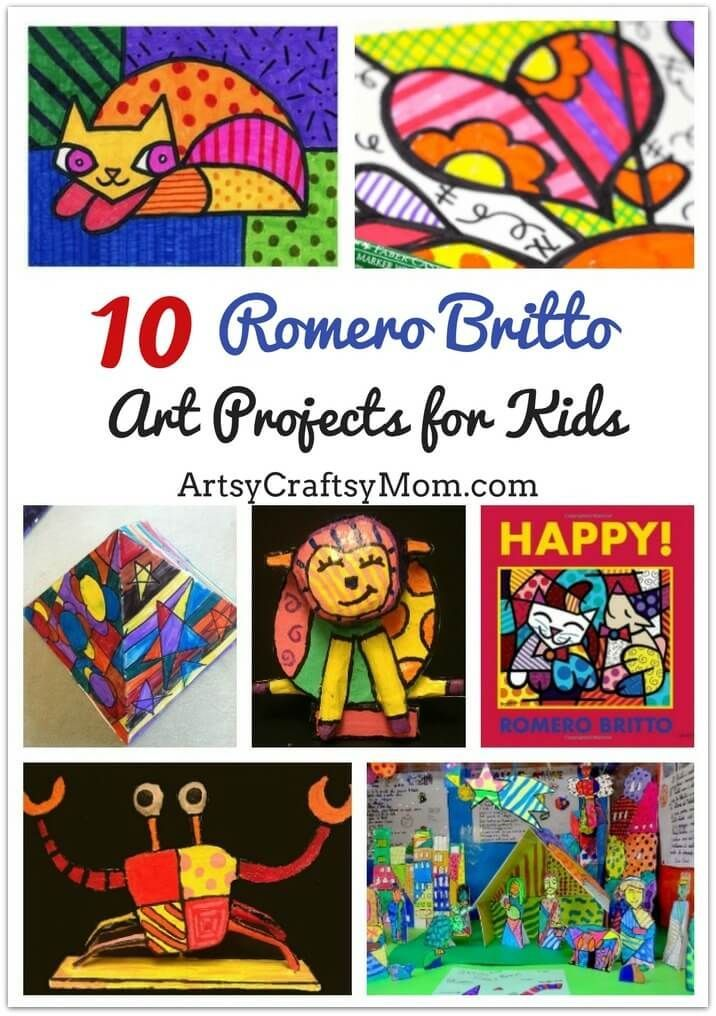 These amazingly colorful Romero Britto Art Projects for Kids are sure to brighten up your day! Learn all about this whimsical artist and his work through drawings, sculptures, collages and more!  via @artsycraftsymom