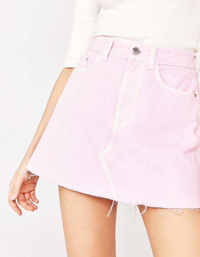 a33add82a Denim skirt with topstitching - Bershka  fashion  product  pink  trend   trendy  girl  outfit  cool  denim  skirt  topstitching  falda  vaquera   rosa   ...