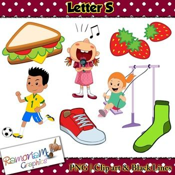 Beginning Sounds, Letter S Clip art set, commercial use ok. This set contains 7 Letter S images (total of 21 in color, black outline and black and white). Each image is PNG and 300dp
