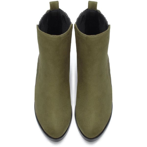 Yoins Green Suede Fashion Ankle Boots (€44) ❤ liked on Polyvore featuring shoes, boots, ankle booties, bootie boots, green suede boots, suede leather boots, suede ankle boots and suede booties