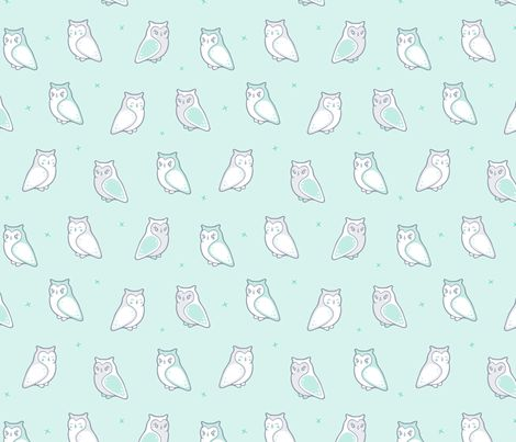 Owls in a row fabric by nossisel on Spoonflower - custom fabric