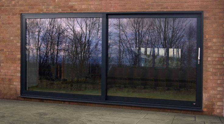 Aluminium sliding doors, painted RAL 7016, Kloeber Kustomslide plus 38335