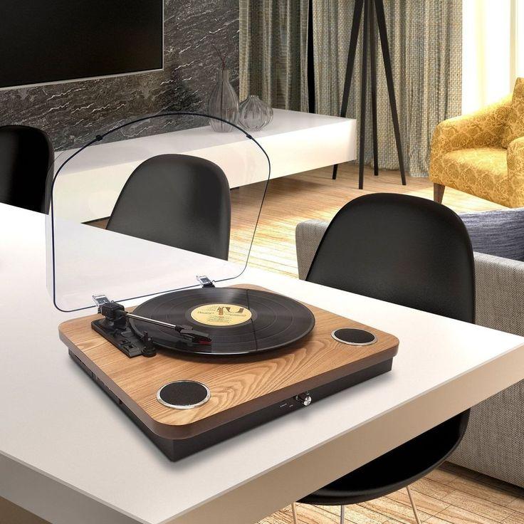Bluetooth USB Turntable Vintage Record Player Vinyl-to MP3 Nature Wood 3-Speed #BluetoothUSBTurntable