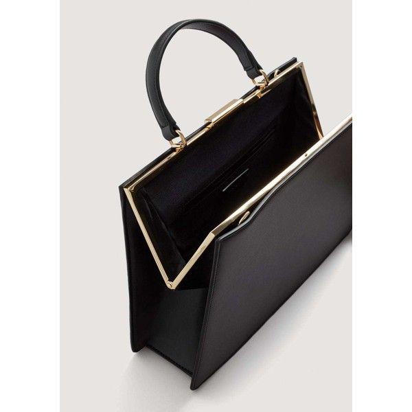 MANGO Briefcase-style bag (4.075 RUB) ❤ liked on Polyvore featuring bags, handbags, mango purse, mango handbags, pebbled-leather purses, strap bag and lining bag