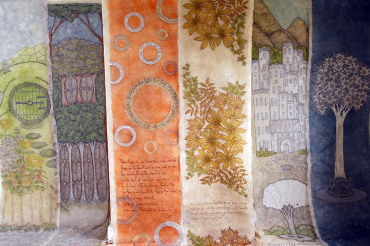 Textile Art, Embroidered Panels, made for 'Lord of the Rings', stage show, by Corinne Young. Photo by Simon Kench