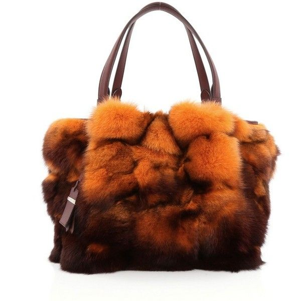 Pre-Owned Tod's Flower Bag Fox Fur Small ($460) ❤ liked on Polyvore featuring bags, handbags, tote bags, orange, handbags totes, tote handbags, brown purse, orange tote bag and studded tote