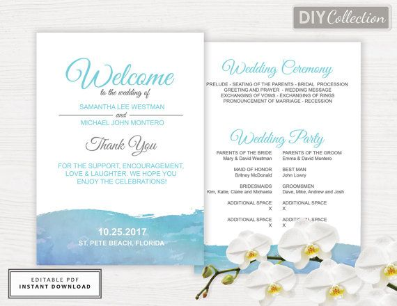Beach Wedding Program Template, Destination Wedding Program, INSTANT DOWNLOAD, Editable Text, Digital Download