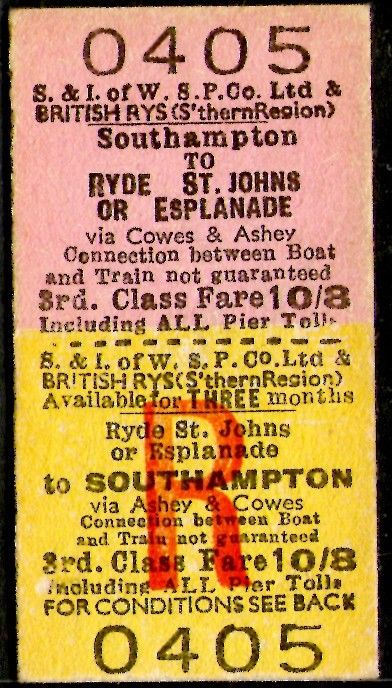 Southampton - Ryde Isle of Wight via Ashey BR Red Funnel Rail / Ferry Ticket Listing in the Nautical,Transportation,Collectables Category on eBid From thebookingoffice