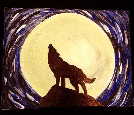 Perfect for any wolf lover! Wolf silhouette in front of a yellow moon.