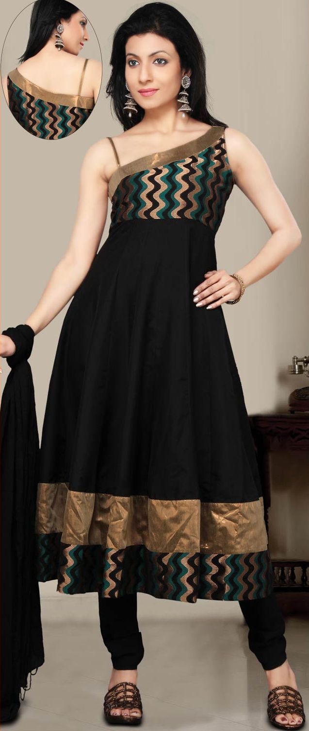 Black Poly Silk and Brocade Churidar Kameez
