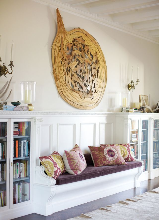 built-in bench with Suzani pillows and velvet cushion via @Maia McDonald / @Rue Magazine