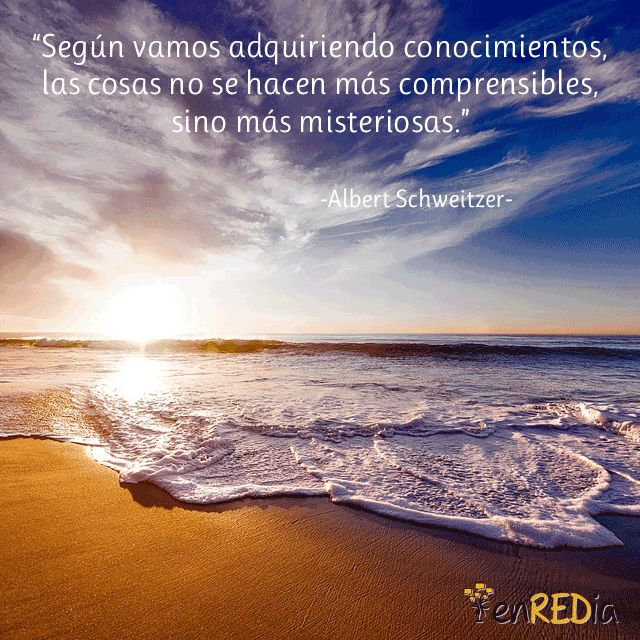 """Según vamos adquiriendo conocimientos, las cosas no se hacen más comprensibles sino más misteriosas"" -Albert Schweitzer- #frasescélebres #notas #citas #quote #positivo #redessociales #communitymanager #socialmediamarketing #socialmedia #sm #marketing #enredia"