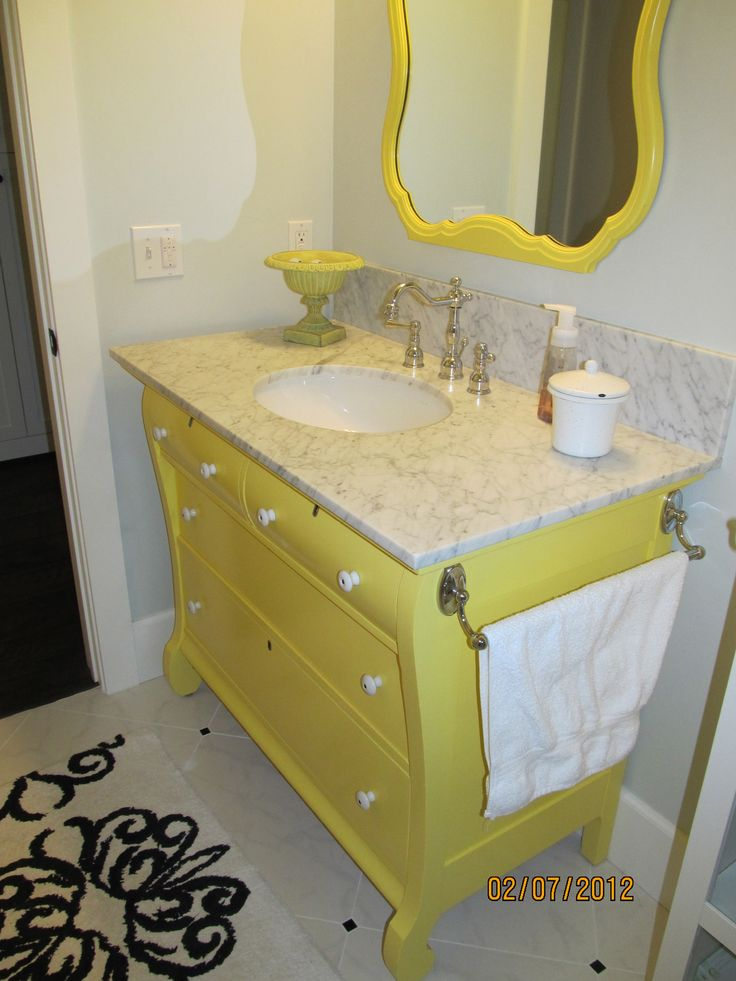 My sister is so talented!  This vanity was made from an old dresser!  So creative!! Love you sis!