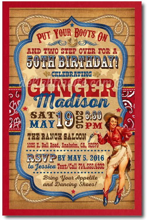 Vintage Pin-Up Cowgirl 50th Birthday Party Invitations, western cowboy invitations, 50th birthday ideas, cowboy theme party invitations