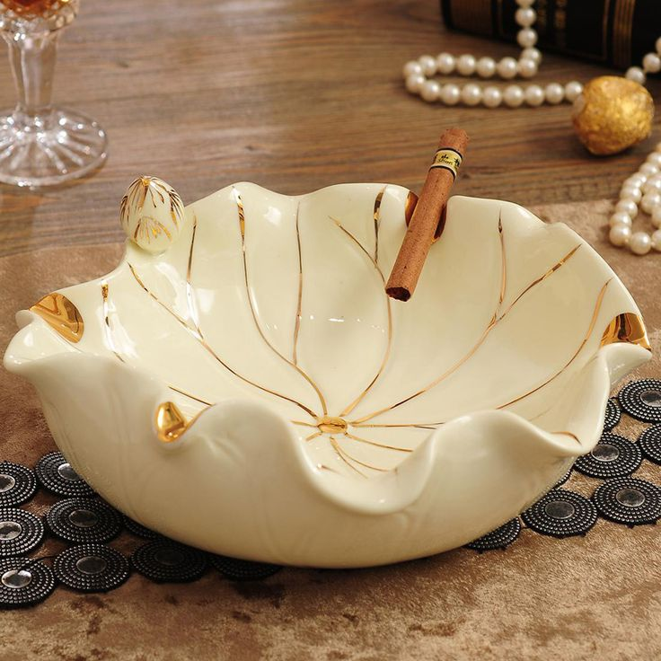 Lotus jade porcelain ashtray Home Furnishing Decor ceramic craft gifts practical small fruit ornaments