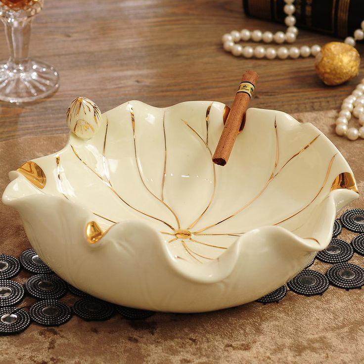 Lotus jade porcelain ashtray Home Furnishing Decor ceramic craft gifts practical small fruit ornaments