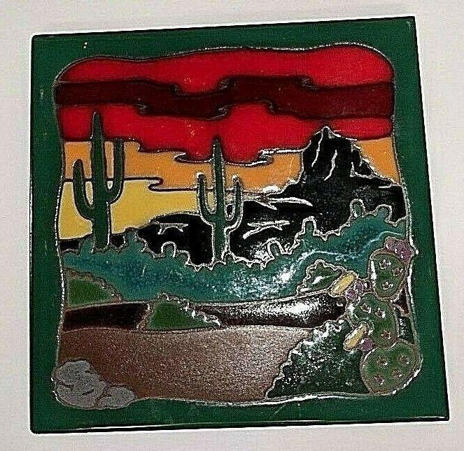 Cactus Dessert Southwest Ceramic Tile Trivet Masterworks Handcrafted Art Usa Masterworks Handcrafted Art Southwest Art Handcraft