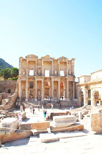 Ephesus, Turkey... Once an ancient Greek city, then later a major Roman city, today Ephesus draws visitors for being one of the largest collections of Roman ruins and home to one of the Seven Wonders of the Ancient World, the Temple of Artemis.  | Perpetually Chic #travel