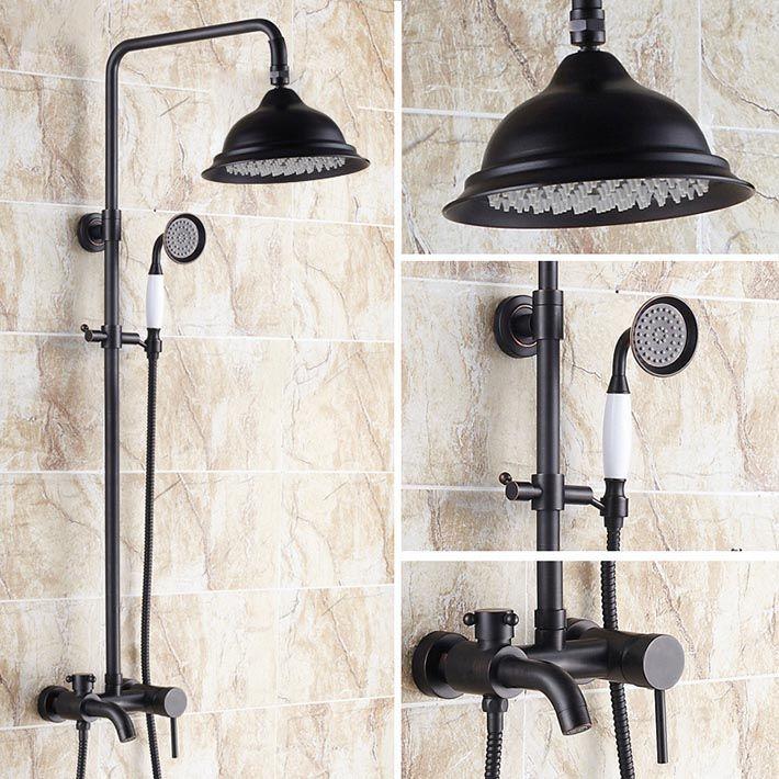 "Luxury antique  Oil Rubbed Bronze in wall Bath & Shower Faucet Set 8"" Rain Shower Head + Hand Shower Spray grifos para ducha #Affiliate"