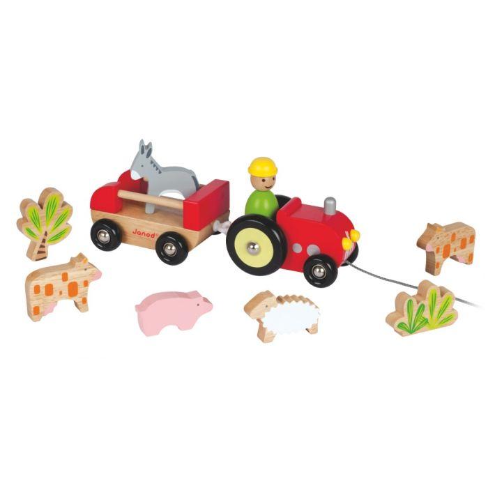Voiture en bois JANOD : tracteur multi animaux - jouet en bois