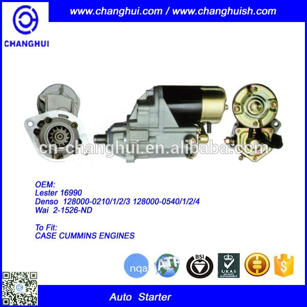 Auto Starter for CASE CUM MINS ENGINES Lester:16990 Denso: 128000-0210/1/2/3,128000-0540/1/2/4 Wai: 2-1526-ND