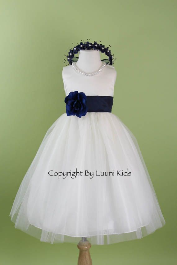 Flower Girl Dress  WHITE Tulle Dress with Blue NAVY by LuuniKids, $32.99 Can get an orange or gray sash