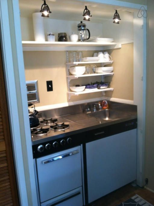 Small but mighty kitchenette complete with 4 gas burners ... on Modern:gijub4Bif1S= Kitchen Remodel  id=32204