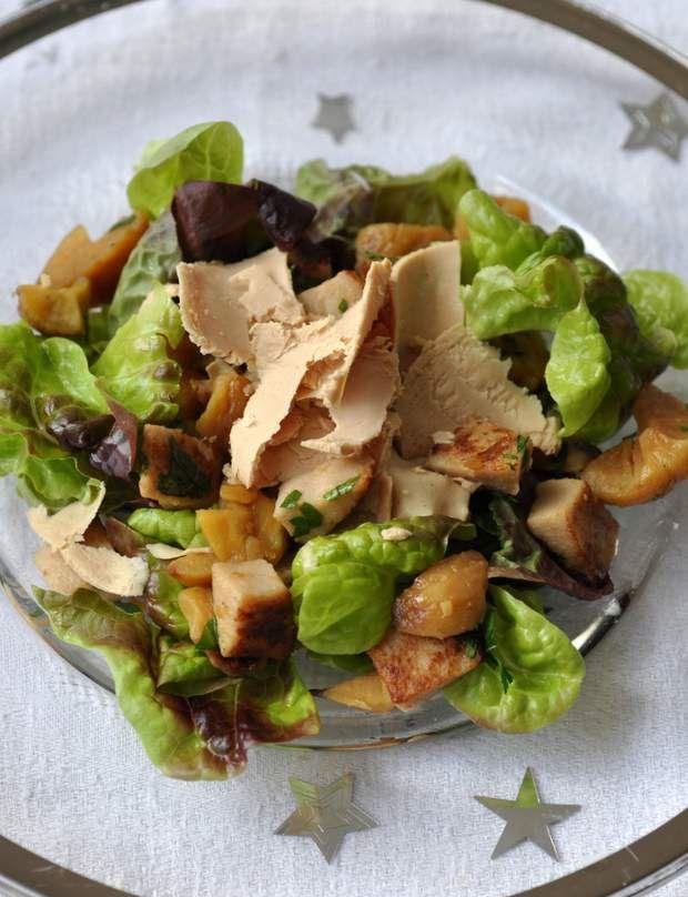 Salade au boudin blanc, châtaignes et foie grasDécouvrir la recette de la salade de boudin blanc, châtaignes et foie grasEt aussi d'autres recettes festives à base de foie gras