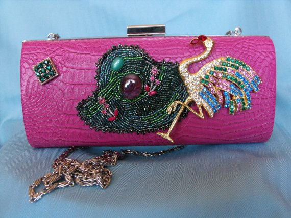 Pink wearable art purse with vintage by IfPiratesWorePurses.