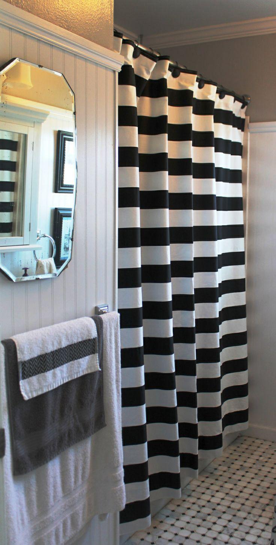 Bathroom bath shower curtain with hooks plain black white cream pink - Cute Bath Vintage Mirror Beadboard And Black And White Horizontal Stripe Shower Curtain
