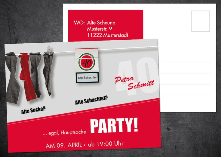 Einladung Zum 40. Geburtstag: Alte Socke