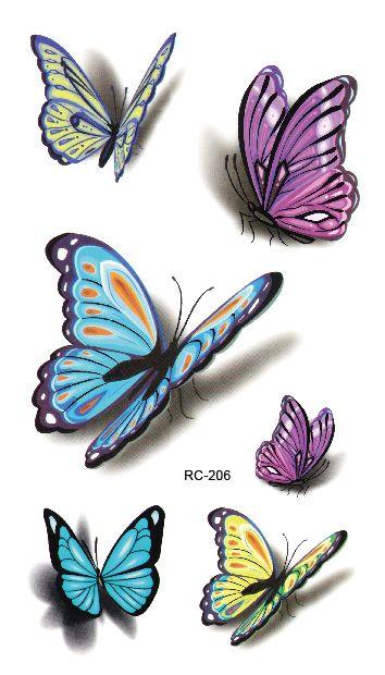 RC2206 Sexy Taille Schulter Wassertransfer Tattoo Aufkleber Wasserdicht Temporäre Tätowierung Aufkleber Bunte Schmetterling Fake Tattoo