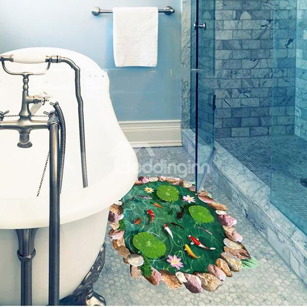Creative lotus pool pattern 3d floor sticker beddinginn for Pool bathroom flooring