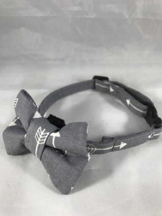 Gray Arrow Cat Collar, Breakaway Cat Collar, Gray Cat Collar, Kitten Collar, bell, collar flower or Bow tie optional, Fall Cat Collar