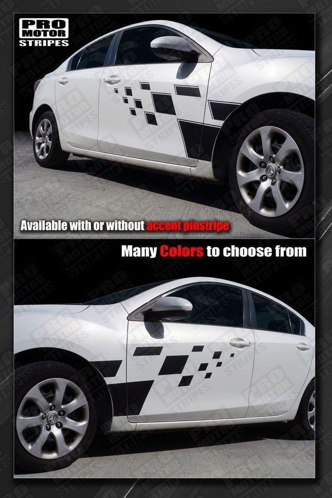 Mazda 3 2009-2013 Checkered Rally Racing Side Stripes