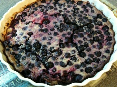 Lactose free Blueberry Clafoutis,  recipe from River Cottage